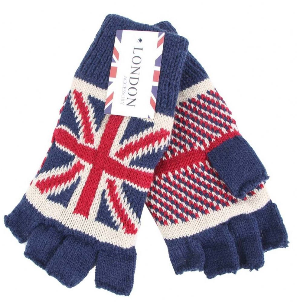 Union Jack knitted Finger less Gloves GL5696